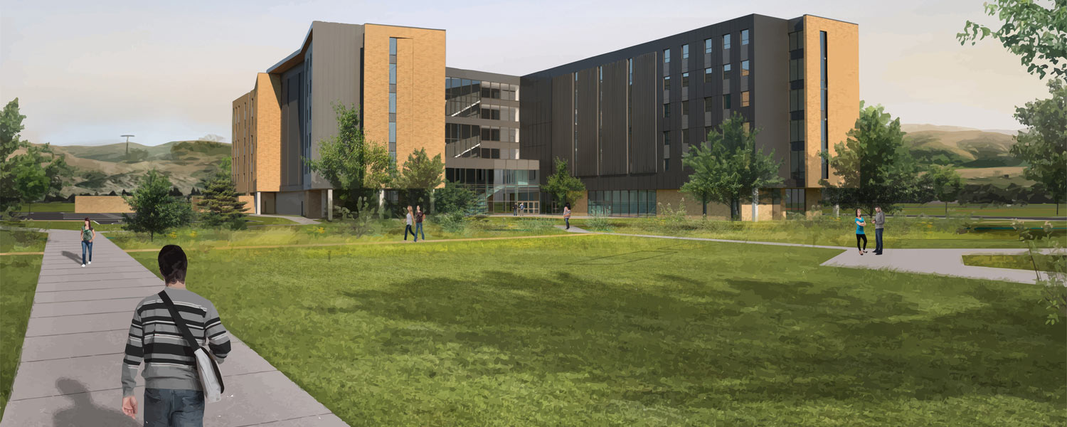 Rendering Montana State University new residence hall exterior