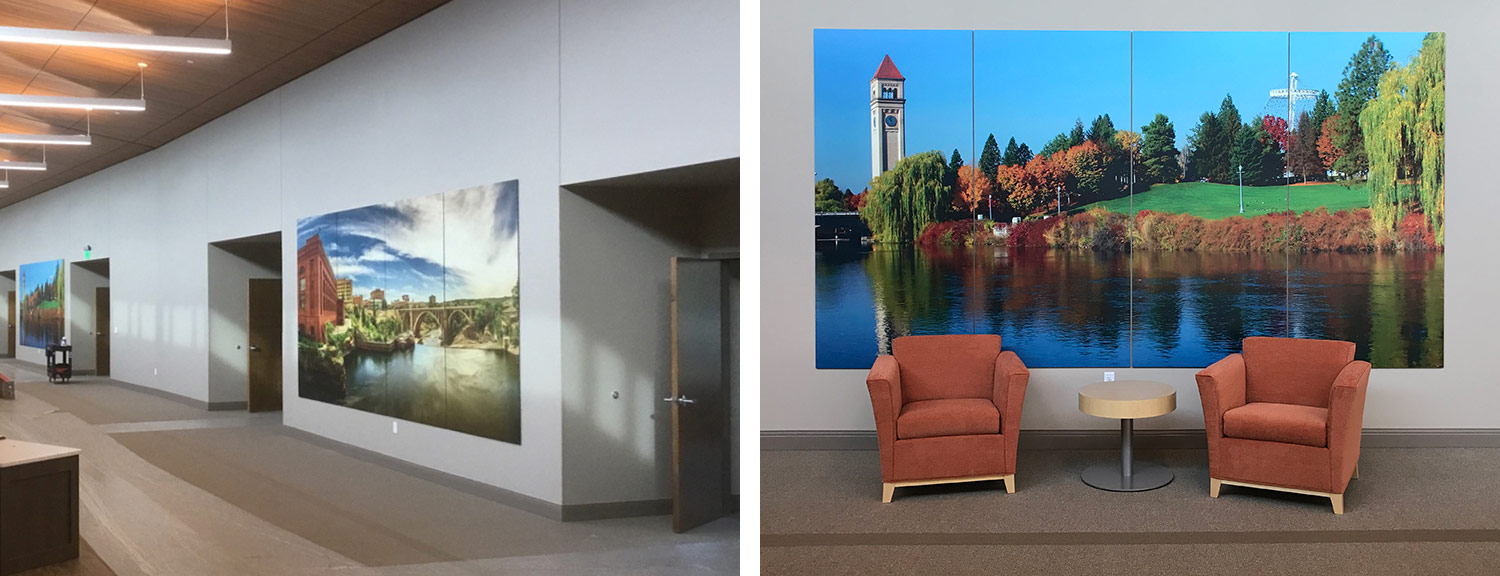 Riverview Retirement Community, Spokane, Washington, hallway with artwork and wall mural and chairs