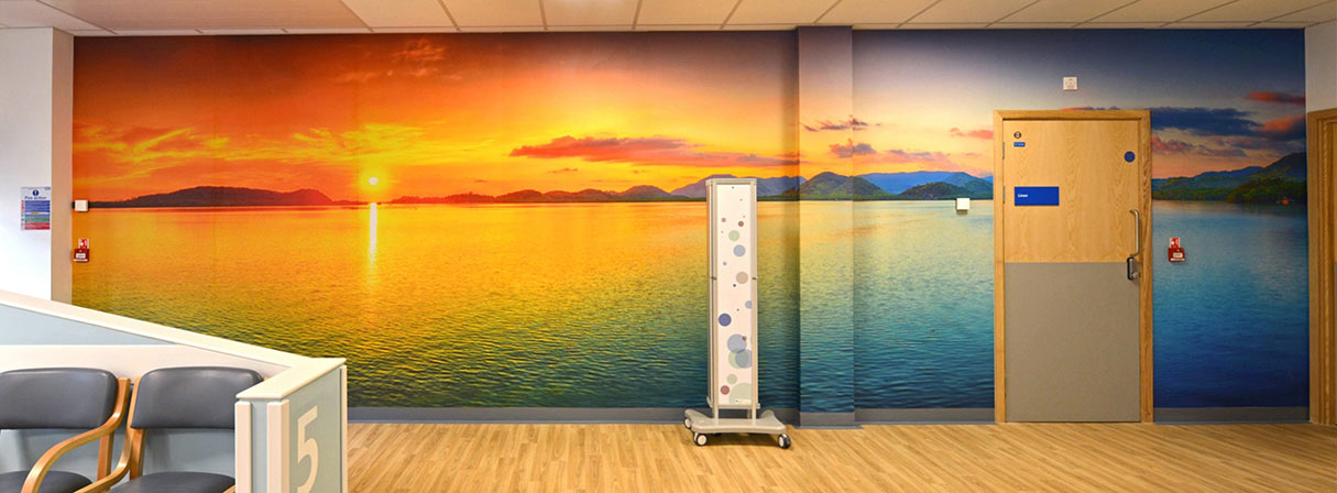 Research shows that even when just images of nature are incorporated into the design of healthcare facilities, patient stress decreases. Mural at Royal Bournemouth Hospital Jigsaw Building - Stride Treglown