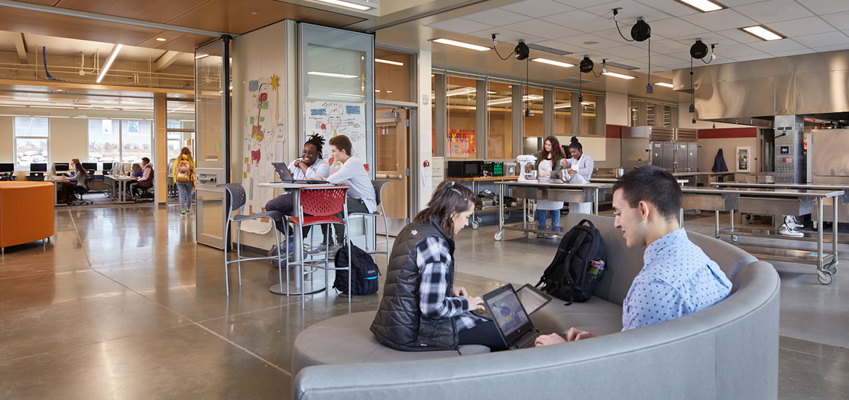 Students in flexible learning spaces at Wilson High School in Tacoma, link to project page