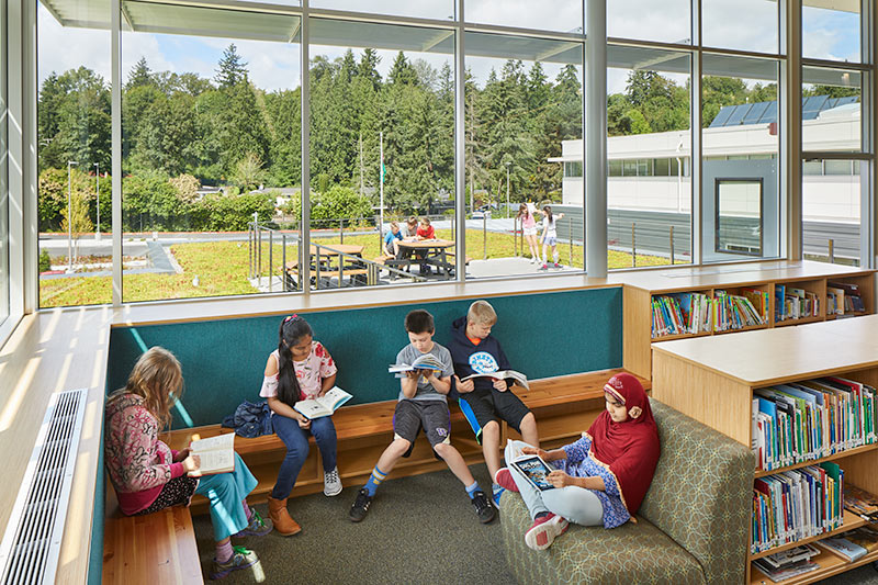A learning and reading space at Bennett Elementary School in Bellevue, WA, link to project page