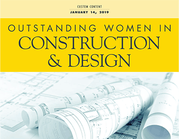 cover of Outstanding Women in Construction & Design magazine showing architectural documents, link to Los Angeles Business Journal Names Helena Jubany as One of 25 Outstanding Women in Construction & Design article