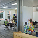 Students in flexible learning space, link to larger image