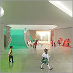 Rendering, entry lobby, children and adults, link to larger image