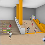 Rendering, stair and play area, link to larger image