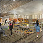 Rendering of interior, students, large windows, link to larger image