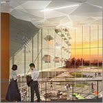 Rendering of interior with students, large windows, link to larger image