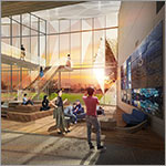 Rendering of interior with students in common area, stairway, large windows, link to larger image