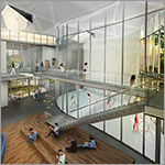 Rendering of interior from above, students in common area, upper walkway, link to larger image